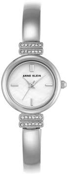 Anne Klein Crystal-Accented Silvertone Pavé Lugs Semi-Bangle Bracelet Watch
