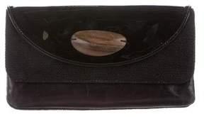 Ports 1961 Leather & Raffia Clutch