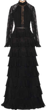 Elie Saab Tiered Ruffle-trimmed Lace And Chiffon Gown - Black
