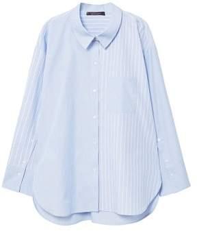 Violeta BY MANGO Contrasting cotton-blend shirt