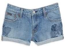 Ralph Lauren Little Girl's& Girl's Embroidered Denim Shorts