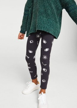 MANGO Printed cotton leggings