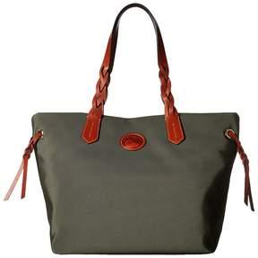 Dooney & Bourke Nylon Shopper Tote Handbags - AQUA/TAN TRIM - STYLE