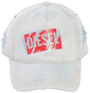 Diesel Logo Tape Ripped Denim Baseball Hat