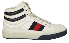 Gucci Men's White Leather Hi Top Sneakers.