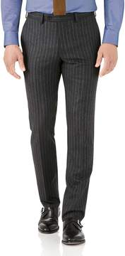 Charles Tyrwhitt Charcoal Stripe Slim Fit Flannel Business Suit Wool Pants Size W38 L32