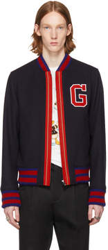 Gucci Navy Wool Bomber Jacket