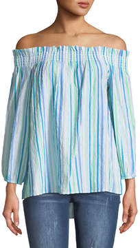 Cynthia Steffe Cece By Off-The-Shoulder Ruched Striped Blouse