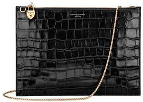Aspinal of London Soho Double Sided Clutch In Deep Shine Black Croc
