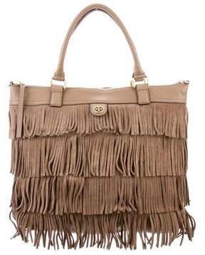 Tory Burch Suede Fringe Tote - GREY - STYLE