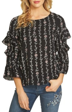 CeCe Women's Printed Ruffle Sleeve Blouse