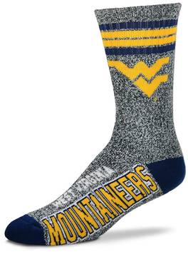 For Bare Feet Adult West Virginia Mountaineers Got Marbled Crew Socks