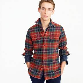 J.Crew Wallace & Barnes heavyweight flannel shirt in red leaf plaid