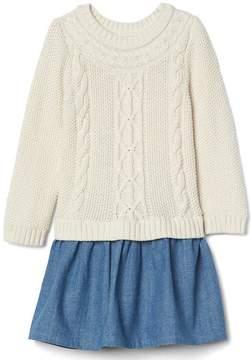 Gap Cable-Knit Chambray Dress