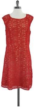 ALICE by Temperley Red & Nude Eyelet Cap Sleeve Dress