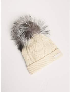 Burberry Fox Fur Pom-pom Wool Cashmere Beanie