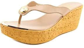 Callisto Button Women Open Toe Synthetic Nude Wedge Sandal.