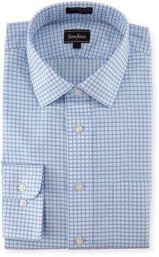 Neiman Marcus Classic-Fit Wrinkle-Free Dobby Check Dress Shirt, Blue