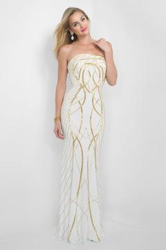 Blush Lingerie Gold Printed Strapless Long Dress 7014