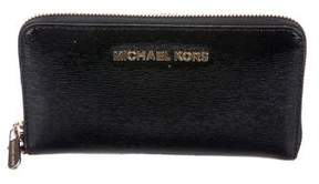 Michael Kors Patent Leather Zip-Around Wallet - BLACK - STYLE