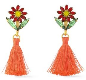 Elizabeth Cole Gold-Tone Crystal Tasseled Earrings