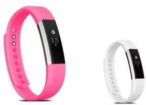 Fitbit Alta HR and Alta Replacement Bands SMALL Size 2 PCS BUNDLE SET, by Zodaca Soft TPU Rubber Adjustable Wristbands Watch Band Strap For Alta HR / Alta SMALL Size - Hot Pink + White