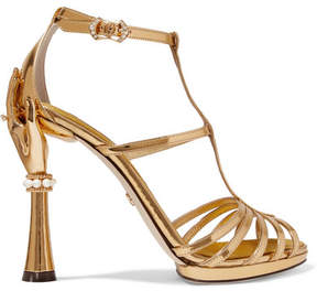 Dolce & Gabbana Embellished Mirrored-leather Sandals - Gold