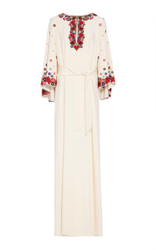 Figue Lito Embroidered Silk Gown
