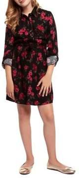 Dex Girl's Rose-Print Shirt Dress