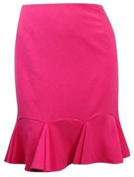 Nine West Women's Gabardine Solid Flounce Skirt (16, Pink Lady)