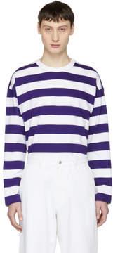 Ami Alexandre Mattiussi White and Purple Long Sleeve Large Stripe T-Shirt