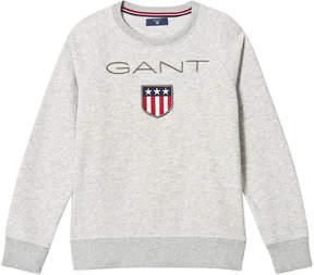 Gant Grey Marl Shield Logo Embroidered Sweatshirt