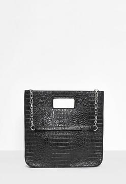 Black Croc Embossed Structured Tote Bag