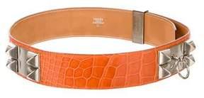 Hermes Alligator Collier De Chien Belt w/ Tags