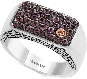 Effy Men's Brown Sapphire Cluster Ring (1-1/3 ct. t.w.) in Sterling Silver and 18k Gold
