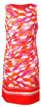 Vince Camuto Women's Geo-Print Scuba Sheath Dress (10, Orange/Pink)