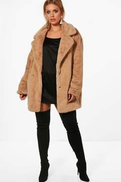 boohoo Plus Bella Teddy Faux Fur Oversized Coat