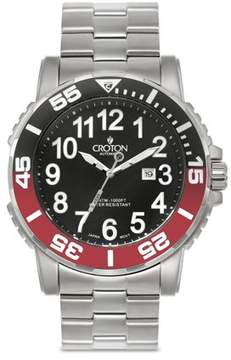 Croton Men's All Stainless Black Dial Quartz Sport Watch with Date & Rotating Red & Black Bezel
