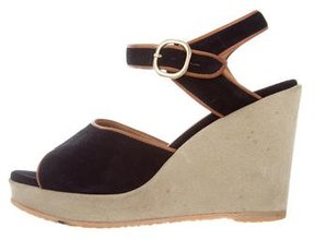 A.P.C. Suede Ankle-Strap Wedges