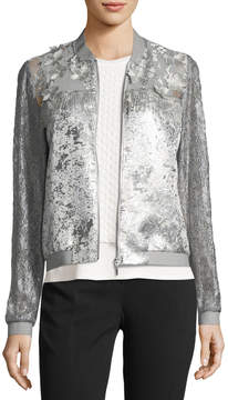 T Tahari Fatima Lace-Sleeve Metallic Jacket