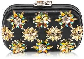 Corto Moltedo Susan C Star Black Nappa Leather and Gold Flowers Crystals Pochette w/Chain Strap