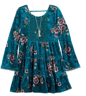 Knitworks Girls 7-16 Floral Crushed Velvet Tiered Dress & Necklace Set
