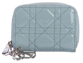 Christian Dior Cannage Patent Zip Wallet