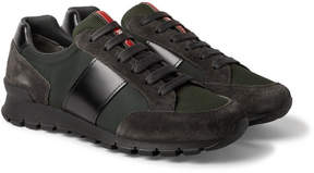 Prada Match Race Panelled Leather, Suede, Nylon And Mesh Sneakers