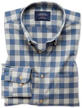 Charles Tyrwhitt Slim Fit Button-Down Non-Iron Twill Blue and Grey Check Cotton Casual Shirt Single Cuff Size XS