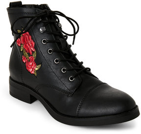 Madden-Girl Black Fuze Embroidered Flower Boots