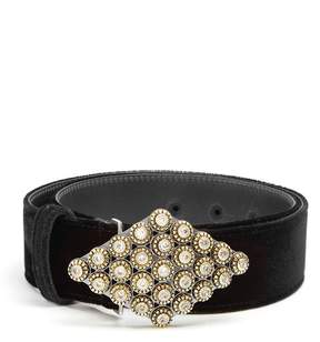 Etro Crystal-embellished velvet belt