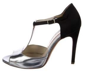 Rupert Sanderson Metallic T-Strap Sandals