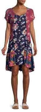 Context Contrast Floral Print Dress