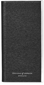 Aspinal of London Iphone 7 Leather Book Case In Black Saffiano Black Suede